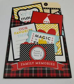 """My project: File Under """"M"""" for Memories Remix Album using Echo Park, Magical Adventure  and Simple Stories, Say Cheese Paper Collections.   Click on the link below to purchase the tutorial.   http://shop.paperphenomenon.com/searchquick-submit.sc?keywords=remix"""
