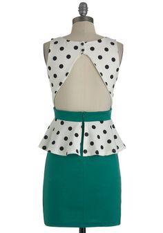 teal, black and white, polka dots, cut out, peplum, dress, zipper, Salt n Peplum Dress, #ModCloth