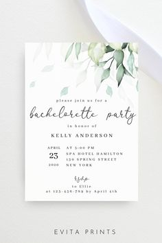 Bachelorette Party Invitation Template, Greenery Bachelorette Invite, Bachelorette Weekend, Instant Download Printable Bachelorette Party Invite Card Bachelorette Party Invitations, Bachelorette Weekend, Bridal Shower Invitations, Electronic Save The Date, Get The Party Started, Wedding Templates, Digital Invitations, Invite, Greenery