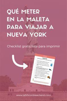 [CHECKLIST] Si vas a viajar a Nueva York, imprímete esta checklist y no te olvides nada. #NuevaYork #NY #NYC #NewYork