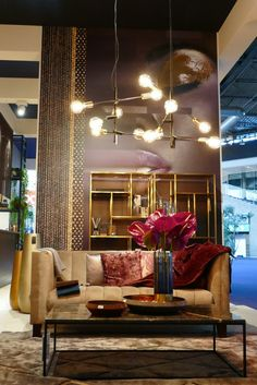 We researched the interior trends for at Maison & Objet, Imm Cologne, Heimtextil, Ambiente and other interior fairs. Chandelier In Living Room, Living Room Lighting, Living Room Decor, Mid Century Chandelier, Mid Century Lighting, Art Deco Stil, European Furniture, Mid Century House, Room Lights