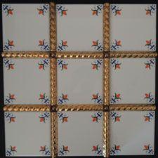 Fleur De Lis Corner Motif Tile Design with 24 Karat Gold Liners Motif Design, Tile Design, Toilet Tiles, Gold Liner, Delft, Blue Yellow, Lily, Corner, Lilies