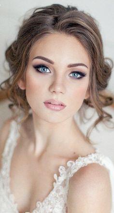 simple wedding makeup Schnes Make-up Simple Wedding Makeup, Beach Wedding Makeup, Natural Wedding Makeup, Bridal Hair And Makeup, Wedding Hair And Makeup, Wedding Beauty, Hair Makeup, Bridal Makeup For Blue Eyes, Eye Makeup