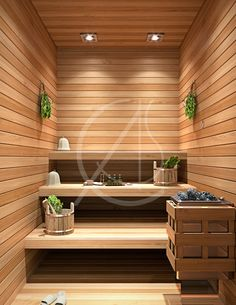 Small sized sauna room for a VIP home spa design by Comelite Architecture Structure and Interior Design, suspended seating and shelves on one side of the room, making the best use of the available space.