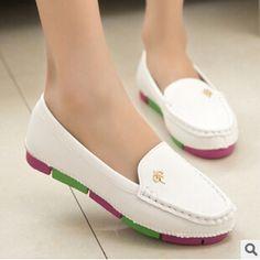 finest selection e9a36 acea3 Encontrar Más Planos Información acerca de Nueva mujeres suave PU zapatos  planos de cuero redondo superior