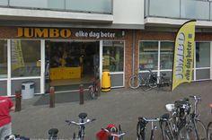 Door de gevel van Jumbo kan je niet zien waar de winkel voor staat.
