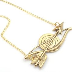 Vintage Bow and Arrow Gold Necklace by Tasha Hussey Jewelry on Opensky