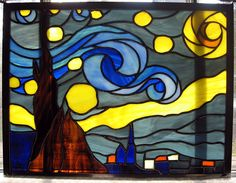 Starry Night Stained Glass Panel by StainedGlassYourWay on Etsy, $285.00 by a fellow stained glass artist. It is one of my favorites!