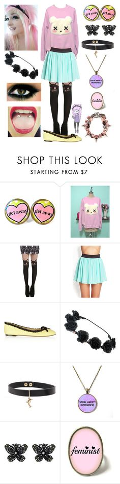 """""""Emo Fluttershy / pastel goth"""" by mylittlepony-outfits ❤ liked on Polyvore featuring Forever 21, Charlotte Olympia, Betsey Johnson, Joomi Lim, MLP, MyLittlePony and Fluttershy"""