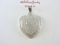 "Estate Sterling Silver 925 Cubic Zirconia Encrusted HEART Pendant 1-1/8""Long…"