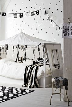 black & white little girls bedroom