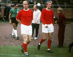Bobby Charlton and Denis Law, Manchester United Images, Manchester United Legends, Manchester United Players, Bobby Charlton, Best Football Team, Retro Football, British Football, Beckham, The Sporting Life