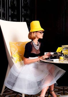 Loving this yellow hat with black and white dress!