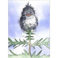 Bird Watercolor Print  Crow in a Tree  fine art by AlisaPaints, $10.00