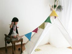 Basic Indian Tent (white) by Toriee.(teepee play tent for baby, toddler and kids) For Hogan