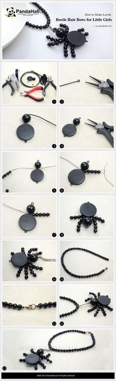 How to Make Halloween Spider Necklace - Simple Beaded Spider Necklace #DIY #halloweenjewelry #halloweenfun #jewelryfun #cbloggers