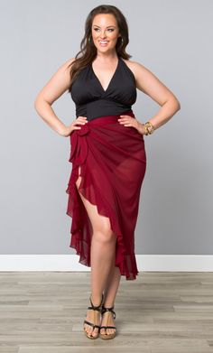 761b9d185f03 Feel a little flirty poolside in our plus size Giselle Ruffle Sarong. This  cover up