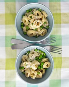 Cheese tortellini and peas tossed with garlic butter and Parmesan takes just 10 minutes to prepare. With packages of tortellini and peas in the freezer, you can throw this dinner together at a moment's notice.