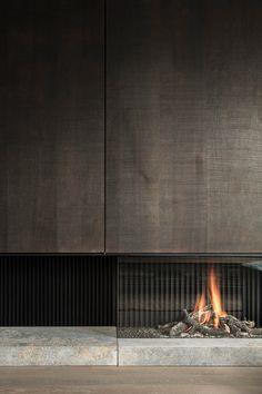 Home contemporary fireplace design Living Room Decor Fireplace, Home Fireplace, Modern Fireplace, Fireplace Ideas, Wood Fireplace Surrounds, Fireplace Tile Surround, Contemporary Fireplace Designs, Modern Contemporary Living Room, Home Interior Design