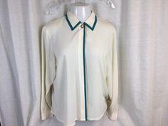 62dd322683b Polyester Koret Womens Long Sleeve Button Front Blouse Shirt Top Size 12   Koret  Blouse