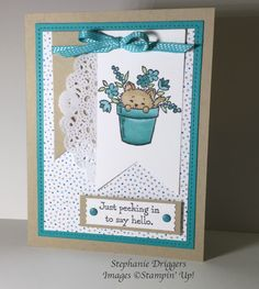 Stampin Up Pretty Kitty stamp set. Bermuda Bay ribbon. Serene Scenery DSP stack, Crumb Cake and Whisper White card stock.