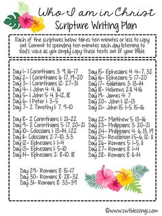 Sweet Blessings: June Scripture Writing Plan: Who I am in Christ