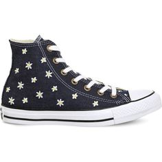 CONVERSE All Star flower-embroidered canvas trainers ($71) ❤ liked on Polyvore featuring shoes, sneakers, lace up shoes, canvas sneakers shoes, laced up shoes, converse trainers and lacing sneakers