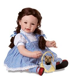 """""""Dorothy"""" and the rest of the gang from Wizard of Oz are adorable 20"""" vinyl/cloth dolls by Adora. $119 each at http://www.kinderlanddolls.net/Adora_Dolls.html"""