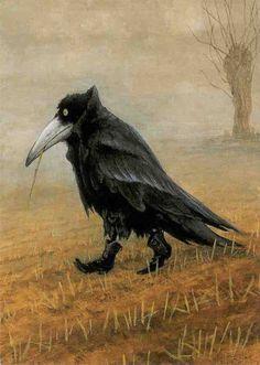 """Krähe"" - Crow in Boots  Rudi Hurzlmeier. This painting has always fascinated me, in a weird sort of way."