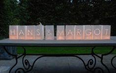 Papieren lantaarns  Voor bij feestlokatie buiten; kan ook met hartjes o.i.d.  Ook op www.tindra.eu