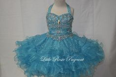 2016 Beautiful Little Rosie Short & Toddler Pageant Dresses Halter Beads & Beading Rhinestone Tiered Organza Kids Formal Wear Custom Made Beauty Pageants Dresses Brown Flower Girl Dresses From Liuliu8899, $149.53| Dhgate.Com