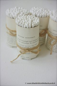 Handmade Holder of Antique French bookpages, filled with cotton swabs