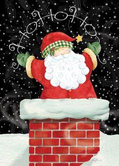 Vintage Santa Charming Chimney Christmas Card <3