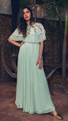 Beautiful Geoegette-silk Gown with superb embroidery embellishments. Indian Fashion Dresses, Indian Gowns Dresses, Indian Outfits, Frock Fashion, Fashion Outfits, Casual Gowns, Function Dresses, Indian Wedding Gowns, Wedding Dresses