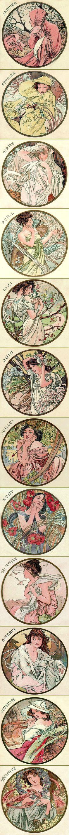 Alphonse Mucha - The Months (1899):