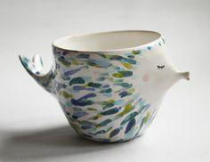 Blue fishy mug - blue fish, ceramic mug, fish mug