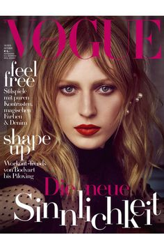 Julia Nobis by Luigi & Iango for Vogue Germany October 2015 cover - Valentino Fall 2015 lace top