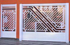 Portão Tubular Madeira EP-209 com preenchimento de metalon de aço carbono 100% galvanizado em diversos perfis. Pode conter detalhes em tubos de aço, chapa ou madeira.