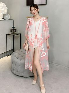 Kimono Fabric, Kimono Top, Dress Outfits, Casual Outfits, Dresses, Bikini Cover Up, Cotton Lace, Different Fabrics, Pink Yellow