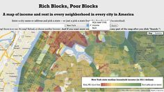 """""""Rich Blocks, Poor Blocks"""" shows an interactive United States map of income and rent in every city. The data comes from the American Community Survey. Information Visualization, Data Visualization, Future Of Marketing, Classroom Charts, Us Data, Open Data, United States Map, Need Motivation, Deep Learning"""