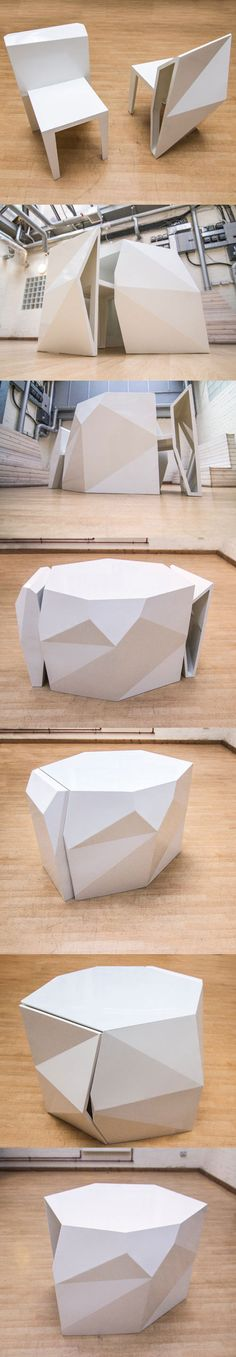 A-Cute, designed by London design firm AndViceVersa, is a set that includes two chairs and a table that join together to form a sculptural, multi-faceted shape when not in use. Made from laser cut metal sheets that are hand folded based on digital prototyping, and then welded into the geometric solid of the finished product.
