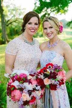 bride and bridesmaid - photo by AL Gawlik Photography http://ruffledblog.com/vibrant-eclectic-ranch-style-wedding