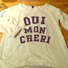 """""""Oui Mon Cheri"""" J. Crew Sweater Shirt Say yes, my dear! This is a pleasant staple from J. Crew. It has general pilling and a few pulled threads (see photo). J. Crew Sweaters Crew & Scoop Necks"""