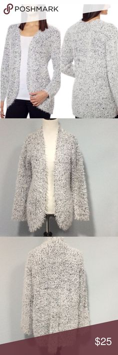 "🐞 Kensie Open Front Plush Cardigan Open front eyelash plush cardigan. Fabric is 64% Polyester and 36% Acrylic. The bust measures 21"" across and the length from the shoulder is 29"". EUC Kensie Sweaters Cardigans"