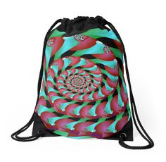 Archimedes' Magenta & Teal Tangent Drawstring Bag by TC-TWS