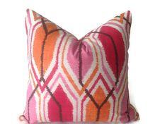 Pillows, Pink Pillow, Home Decor Pillow, Lumbar Pillows, Decorative throw pillow covers  designer fabric   fuchsia, pink, orange Pillow