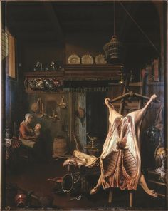 An interesting one from the Laing Art Gallery collection for you by an unknown artist - Interior with a Carcass. Dates from the 1800s.