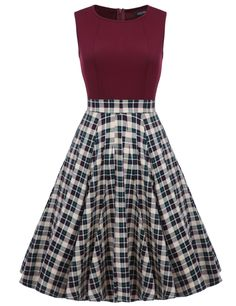 Women 1950s Vintage Style Retro Sleeveless Plaid Patchwork A-line Cocktail Midi Party Casual Dresses