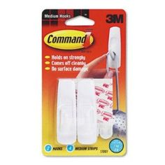 Utility Hooks w/Command Adhesive - 3-lb Capacity, Plastic, White, Set of 2(sold in packs of 3) by 3M. $14.71. Utility Hooks w/Command Adhesive - 3-lb Capacity,  Plastic,  White,  Set of 2(sold in packs of 3)