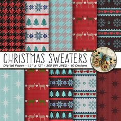 Christmas Sweater Digital Papersby TheArtBoxDesigns